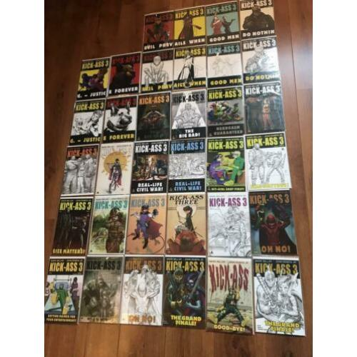Kick-Ass 3 complete serie #1-8 + all variants! NM, Marvel