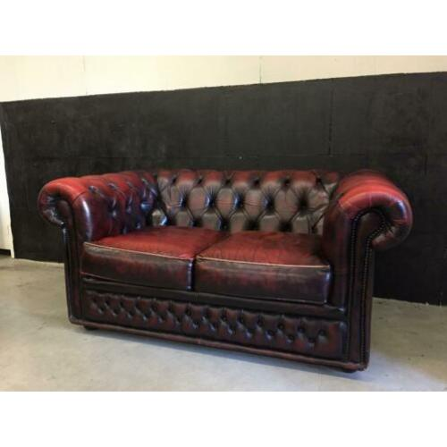 Chesterfield bank oxblood red leer gratis bezorgd